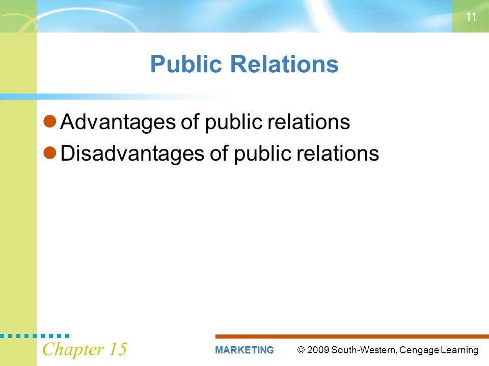 Public Relations Advantages of public relations