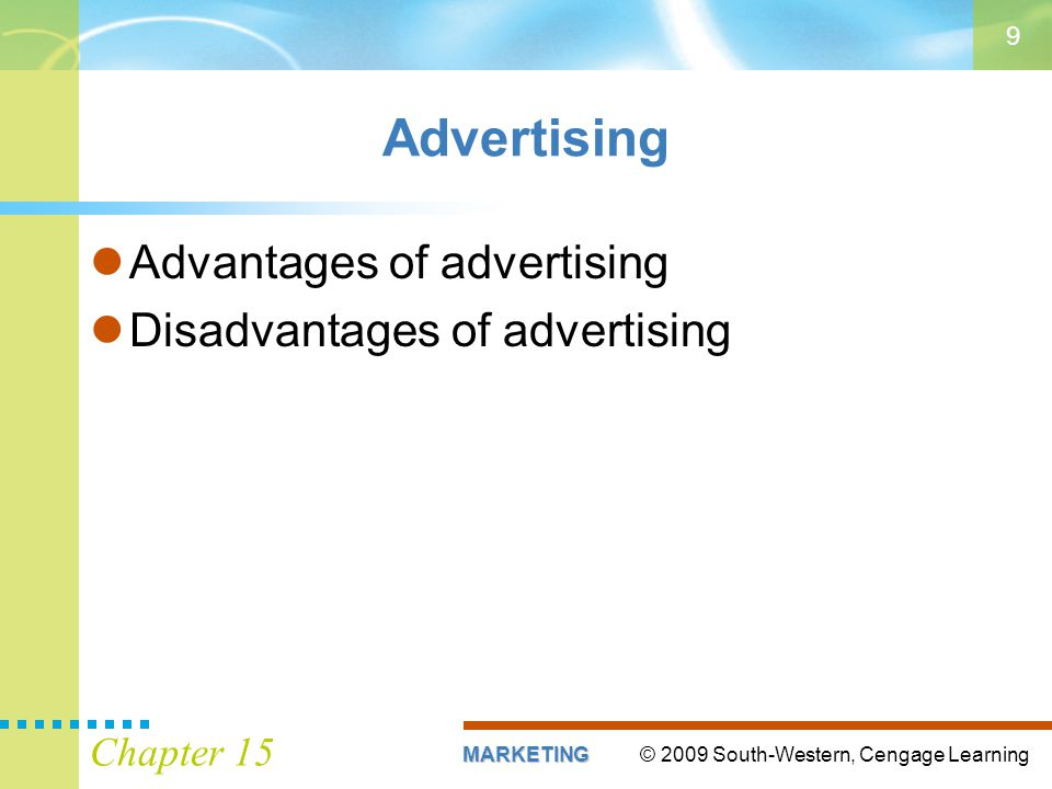 Advertising Advantages of advertising Disadvantages of advertising