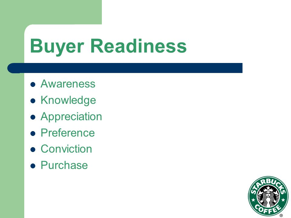 Buyer Readiness Awareness Knowledge Appreciation Preference Conviction