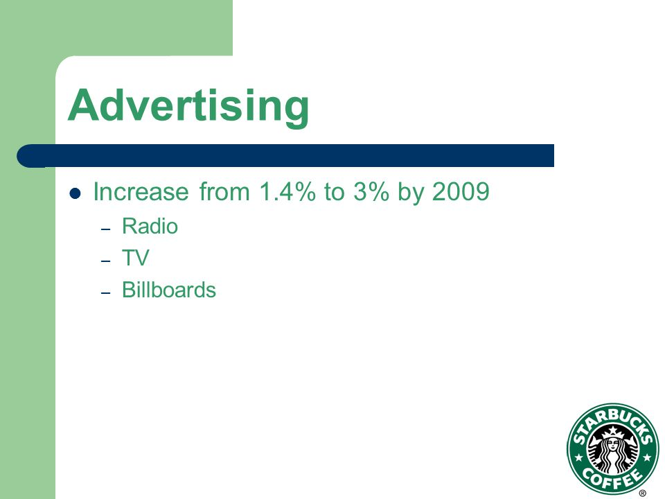 Advertising Increase from 1.4% to 3% by 2009 Radio TV Billboards