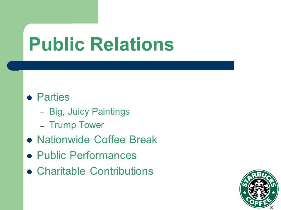 Public Relations Parties Nationwide Coffee Break Public Performances