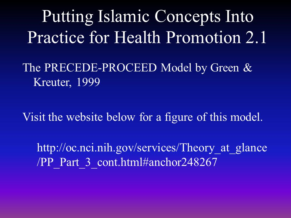 Putting Islamic Concepts Into Practice for Health Promotion 2.1
