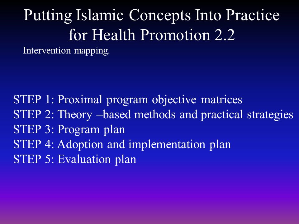 Putting Islamic Concepts Into Practice for Health Promotion 2.2