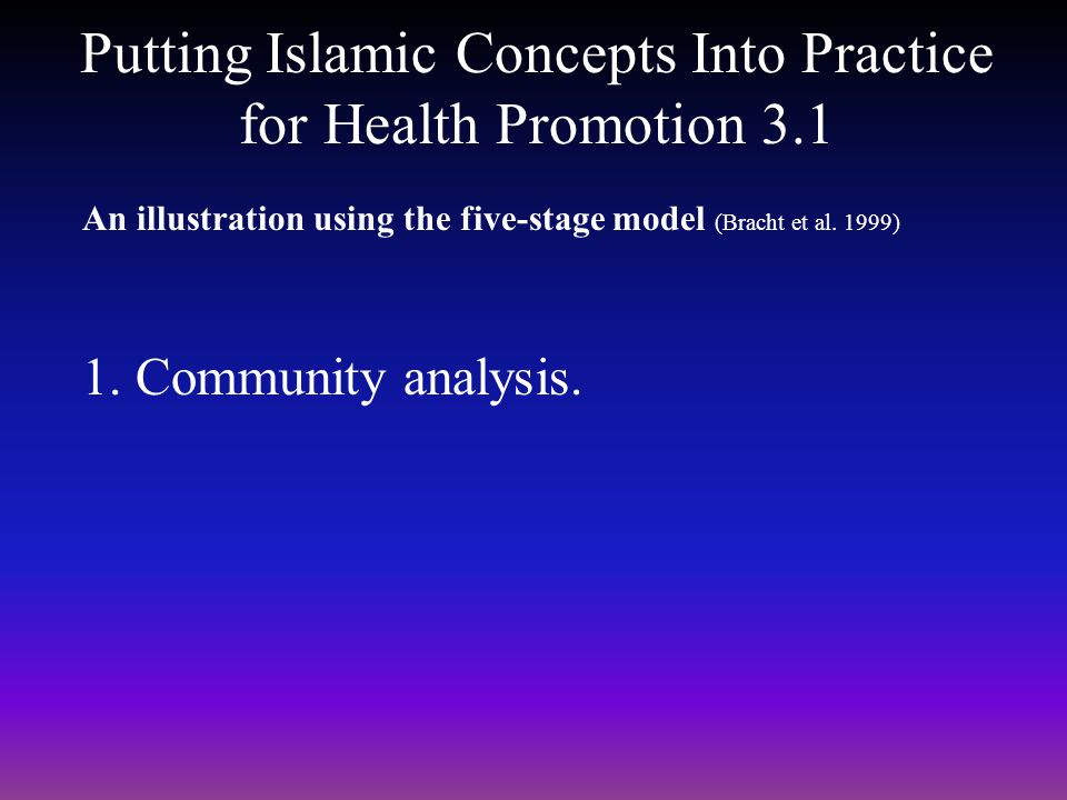 Putting Islamic Concepts Into Practice for Health Promotion 3.1