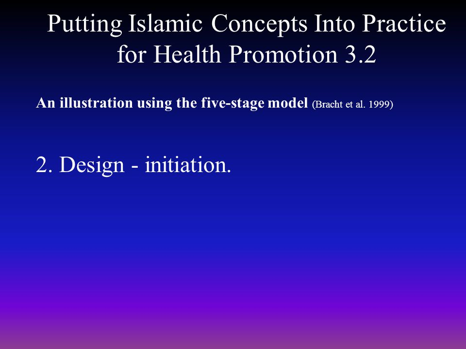 Putting Islamic Concepts Into Practice for Health Promotion 3.2