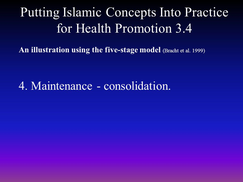 Putting Islamic Concepts Into Practice for Health Promotion 3.4