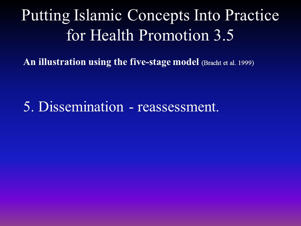 Putting Islamic Concepts Into Practice for Health Promotion 3.5