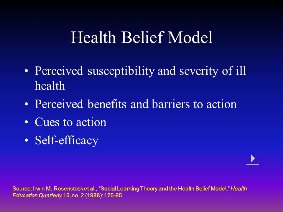 Health Belief Model Perceived susceptibility and severity of ill health. Perceived benefits and barriers to action.