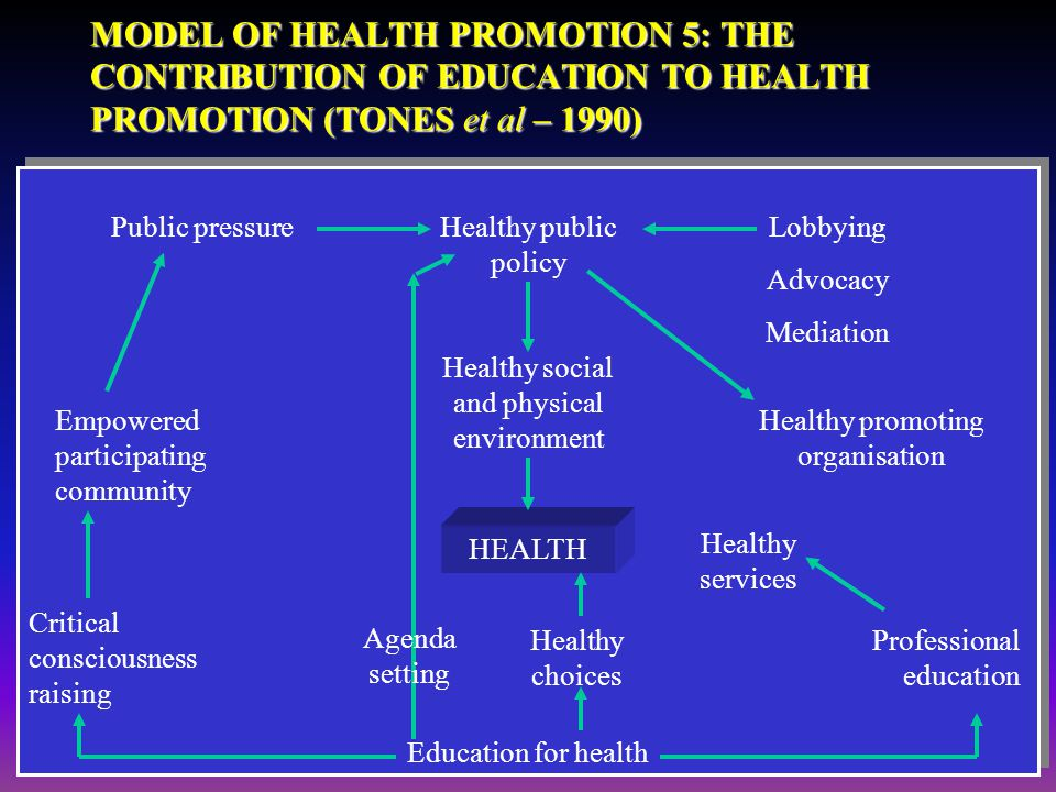 MODEL OF HEALTH PROMOTION 5: THE CONTRIBUTION OF EDUCATION TO HEALTH PROMOTION (TONES et al – 1990)