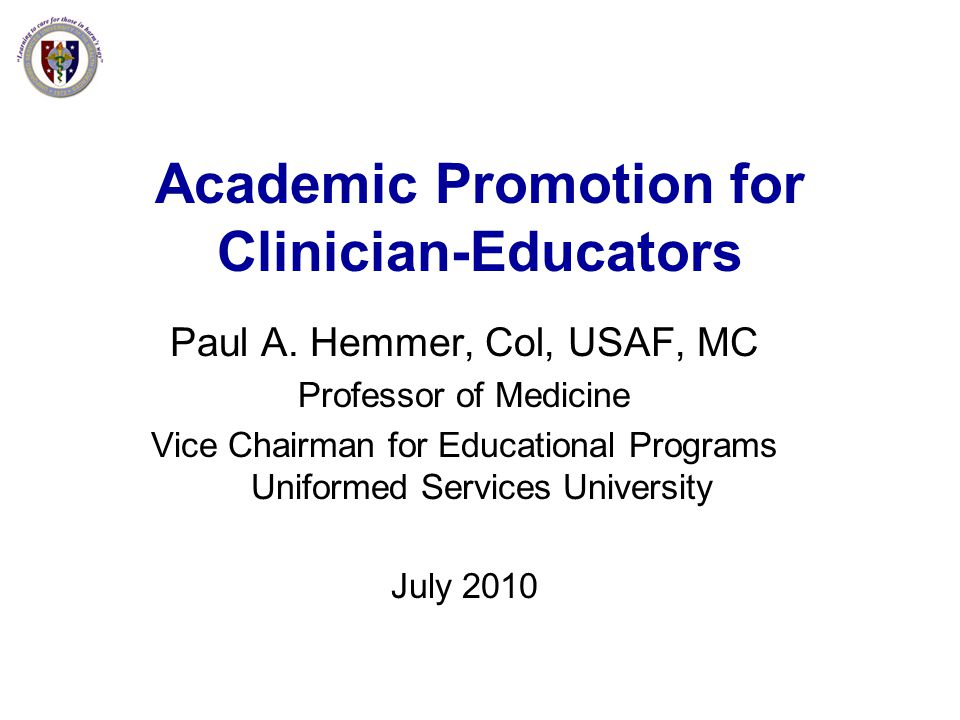 Academic Promotion for Clinician-Educators