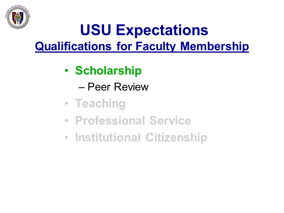 USU Expectations Qualifications for Faculty Membership