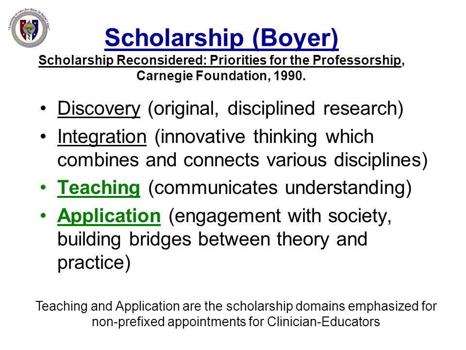 Scholarship (Boyer) Scholarship Reconsidered: Priorities for the Professorship, Carnegie Foundation, 1990.