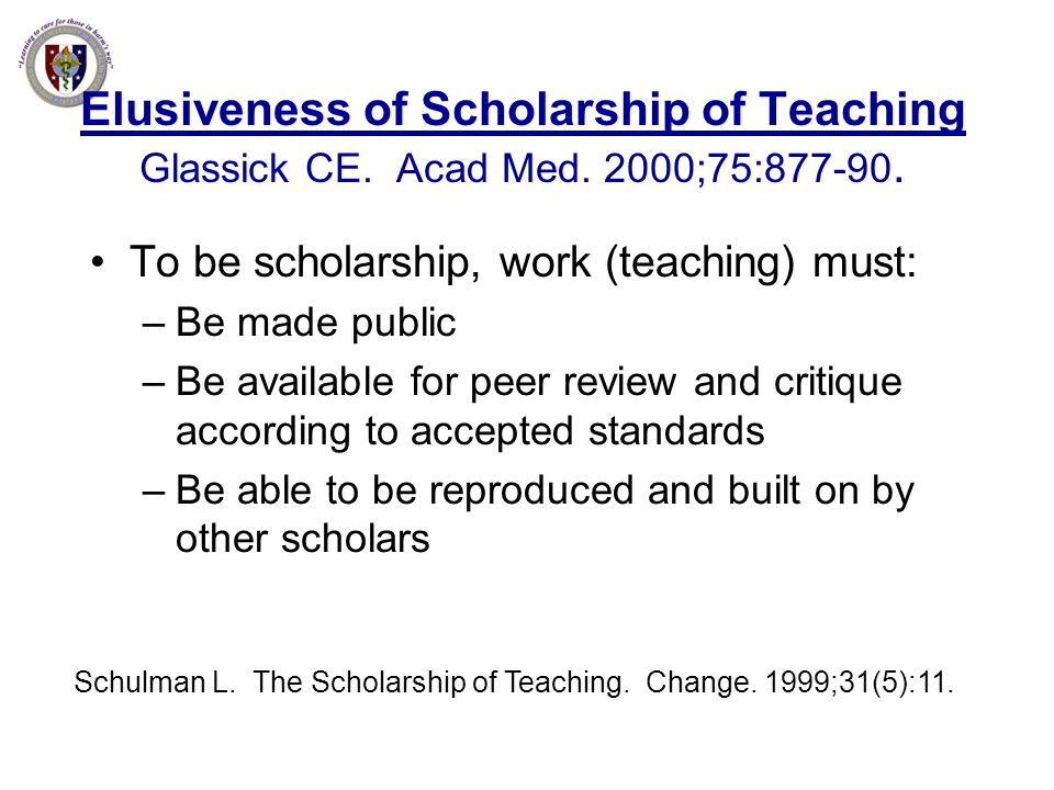 Schulman L. The Scholarship of Teaching. Change. 1999;31(5):11.