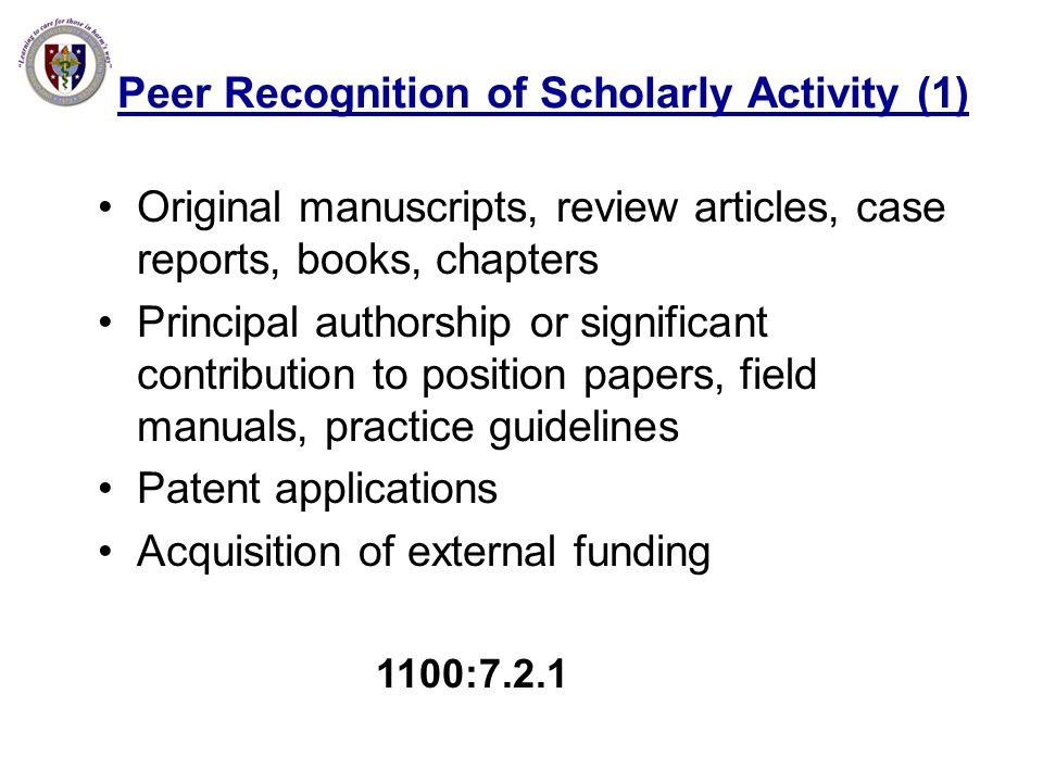 Peer Recognition of Scholarly Activity (1)