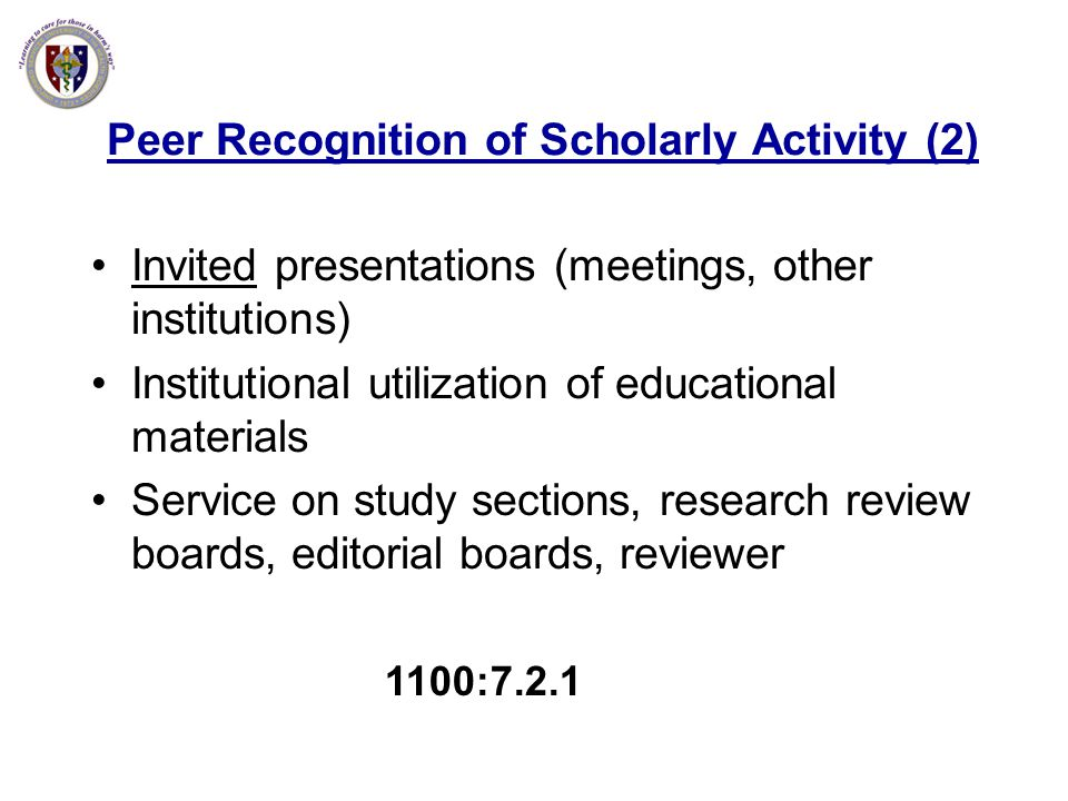Peer Recognition of Scholarly Activity (2)