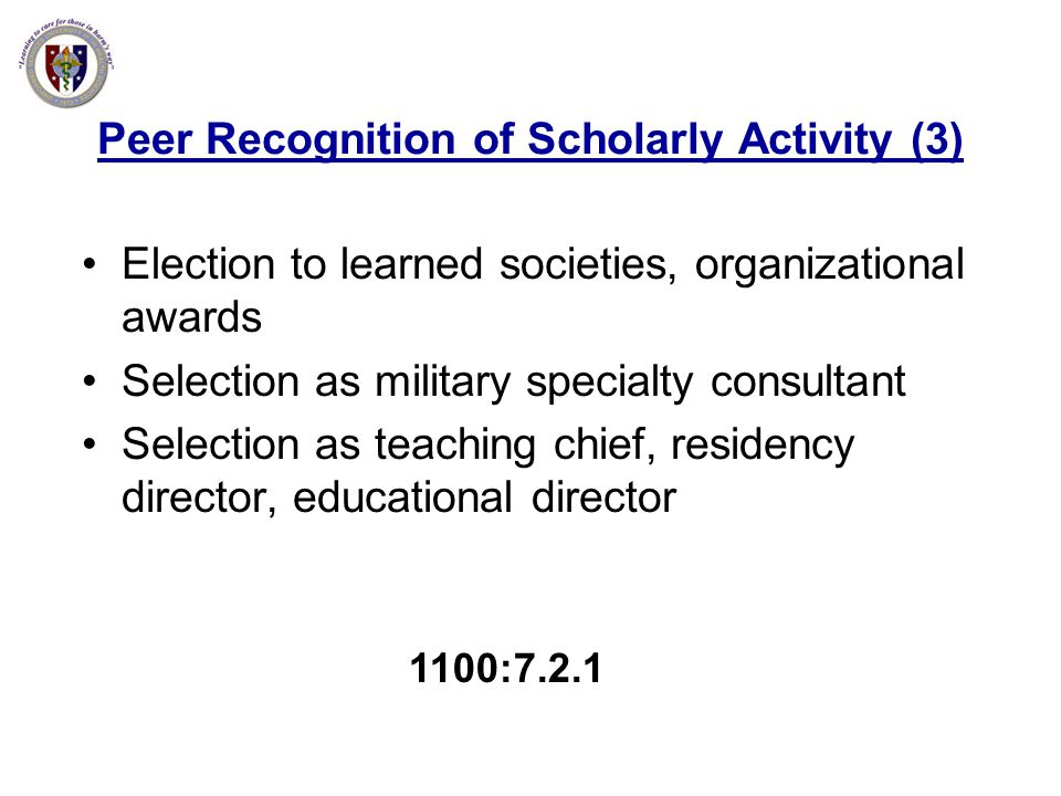 Peer Recognition of Scholarly Activity (3)