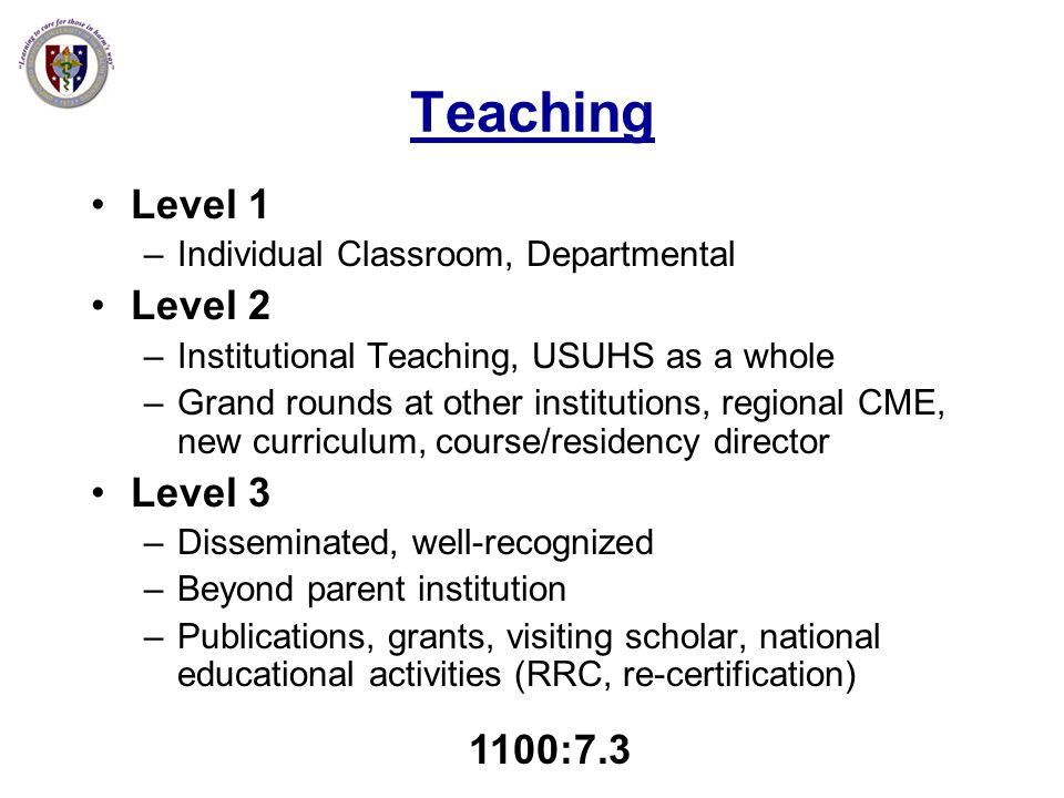 Teaching Level 1 Level 2 Level 3 1100:7.3