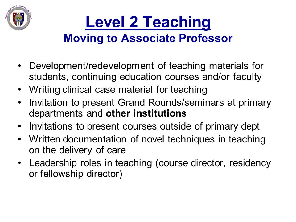 Level 2 Teaching Moving to Associate Professor