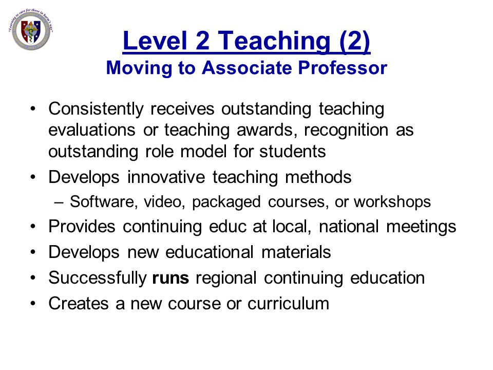 Level 2 Teaching (2) Moving to Associate Professor