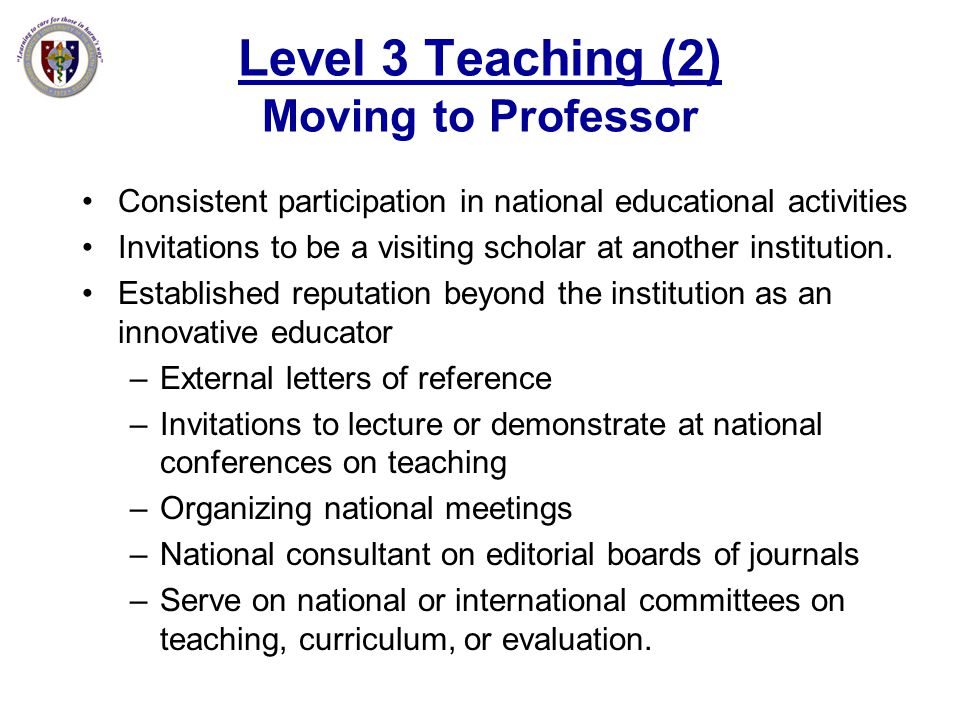 Level 3 Teaching (2) Moving to Professor