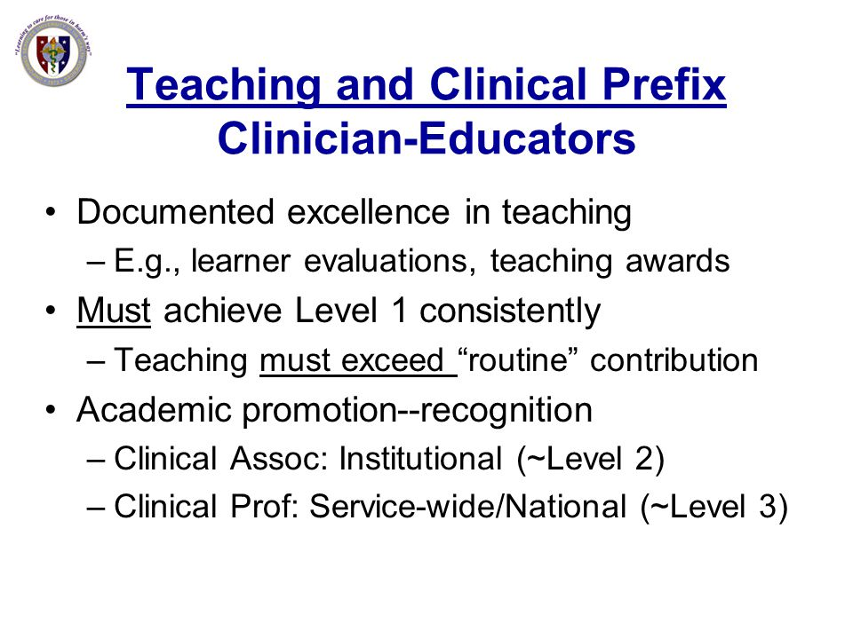 Teaching and Clinical Prefix Clinician-Educators
