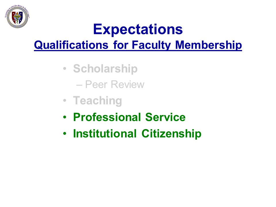 Expectations Qualifications for Faculty Membership