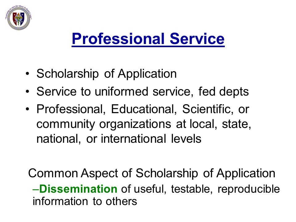 Common Aspect of Scholarship of Application