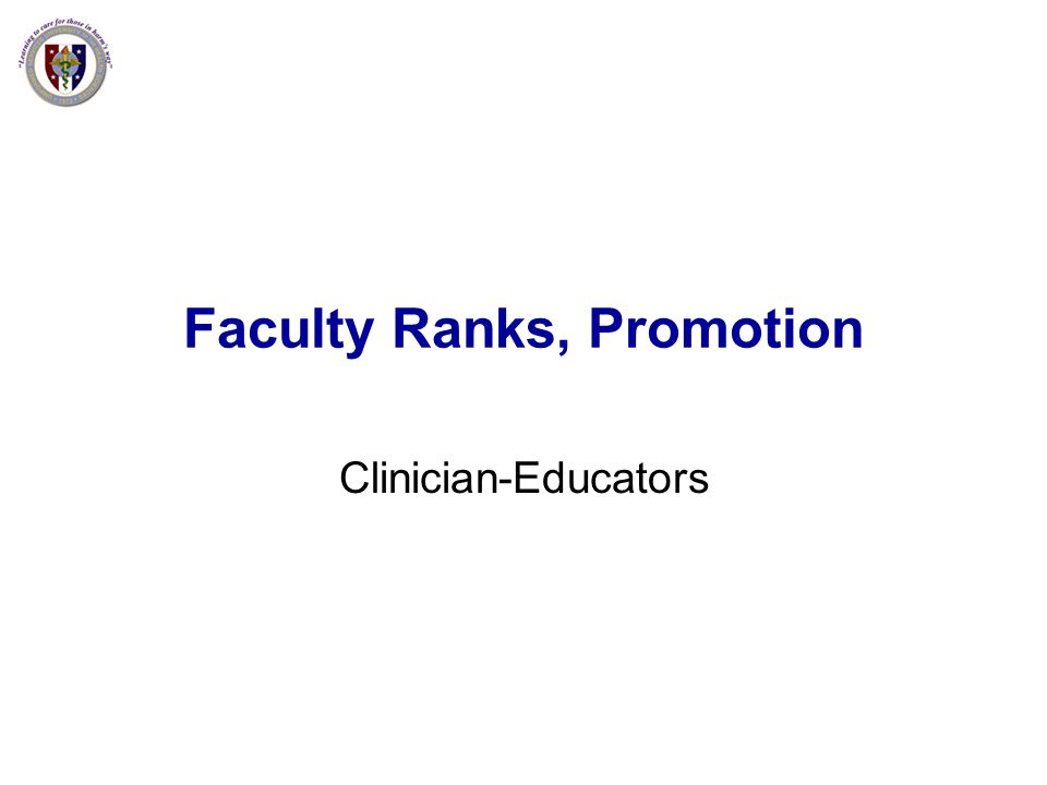 Faculty Ranks, Promotion