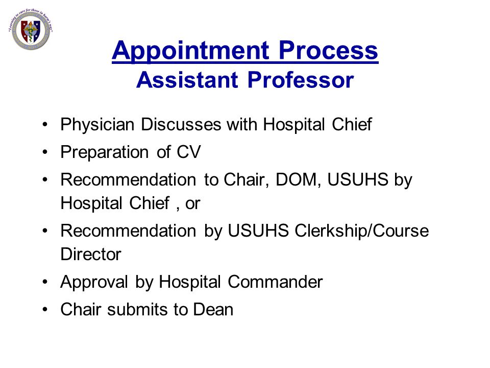 Appointment Process Assistant Professor