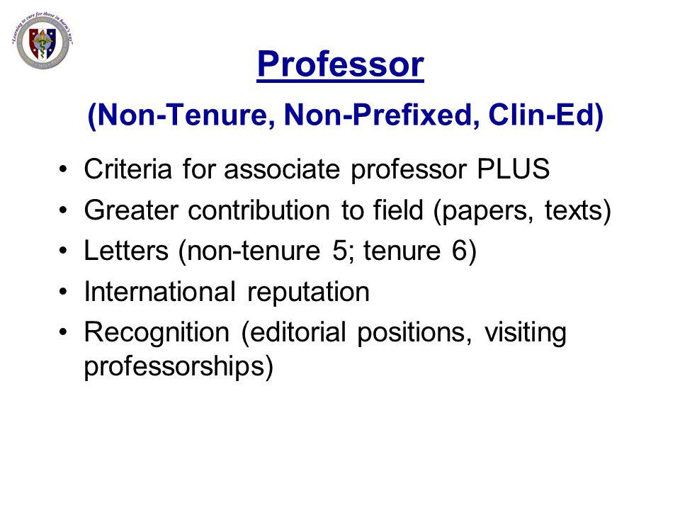 Professor (Non-Tenure, Non-Prefixed, Clin-Ed)