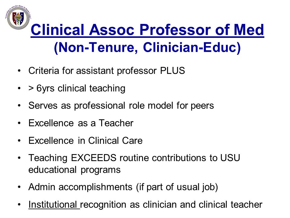 Clinical Assoc Professor of Med (Non-Tenure, Clinician-Educ)