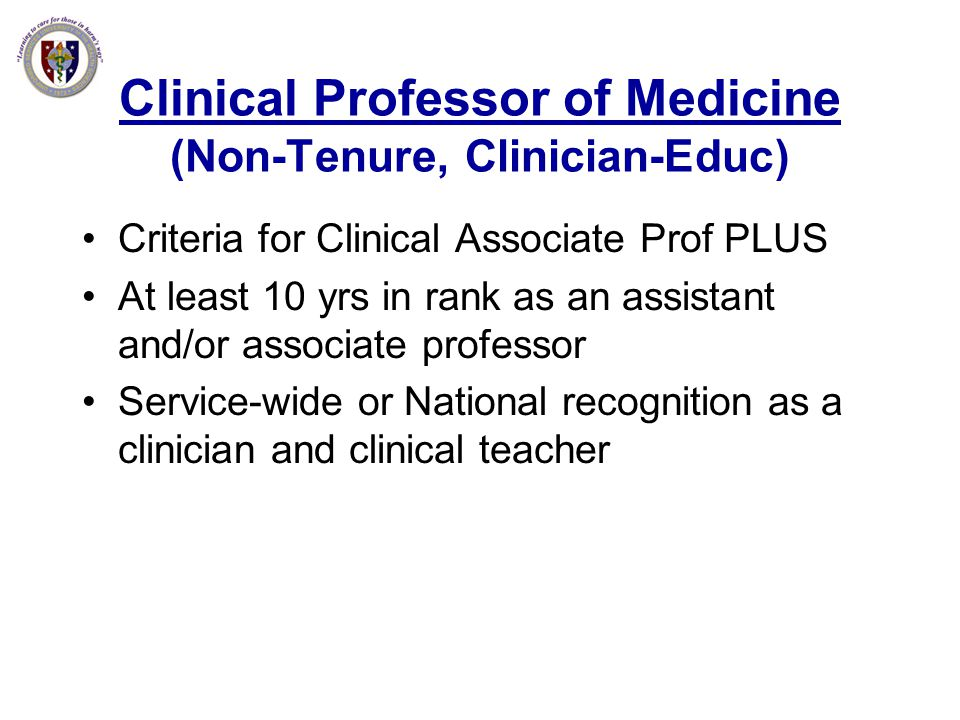 Clinical Professor of Medicine (Non-Tenure, Clinician-Educ)