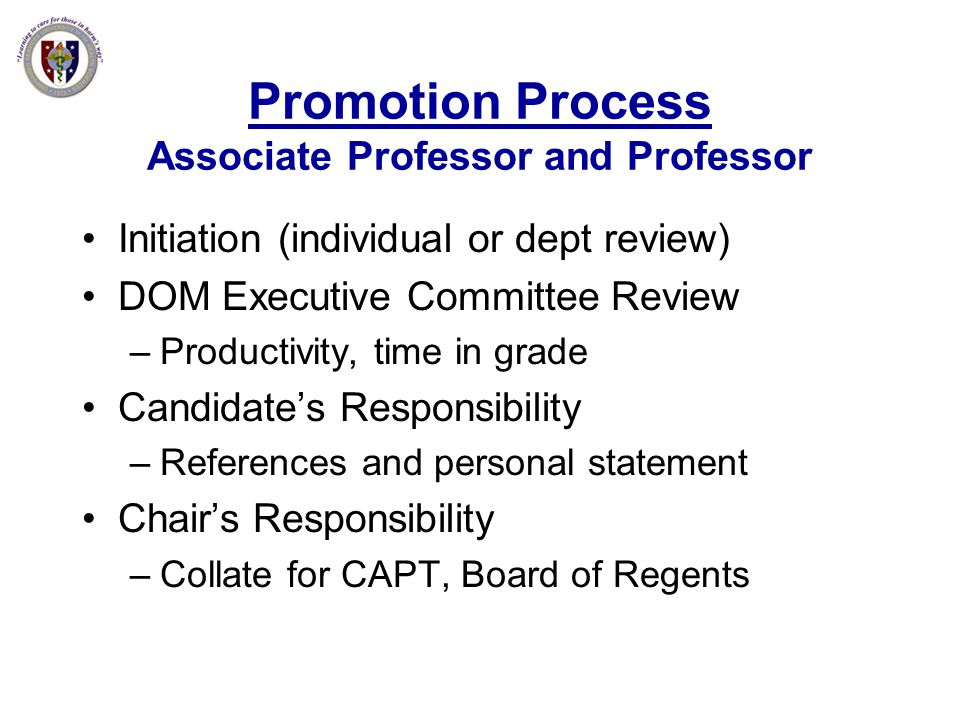 Promotion Process Associate Professor and Professor
