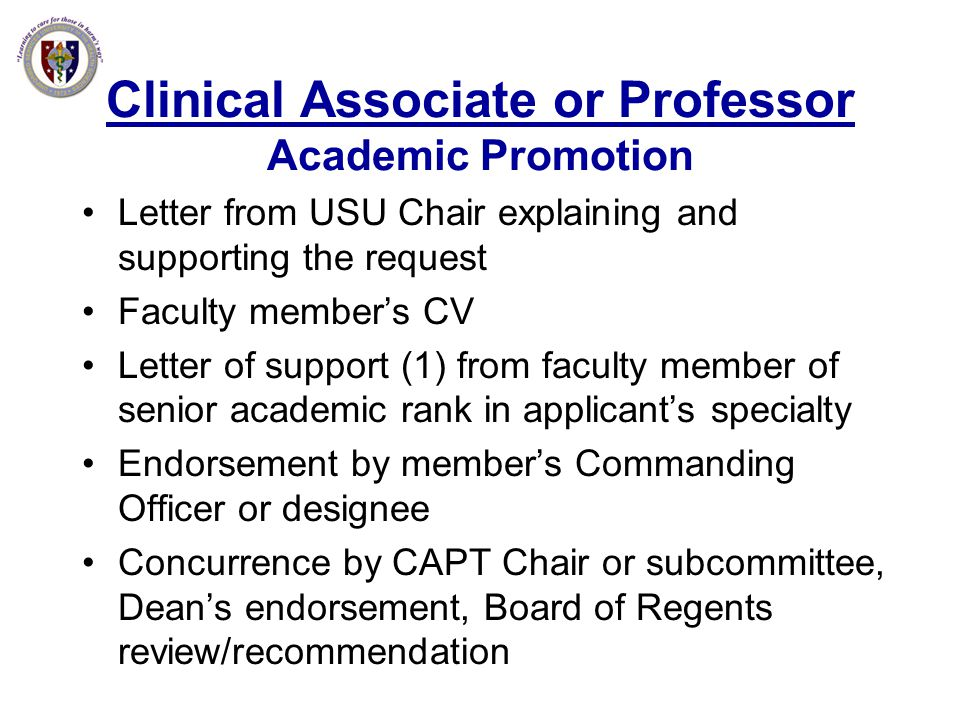 Clinical Associate or Professor Academic Promotion