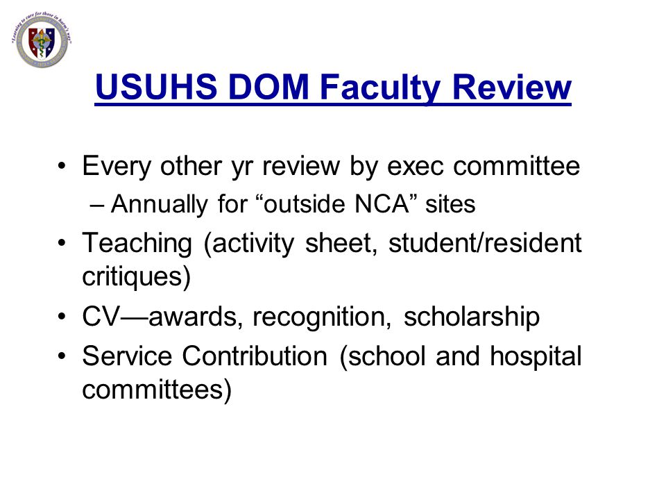 USUHS DOM Faculty Review