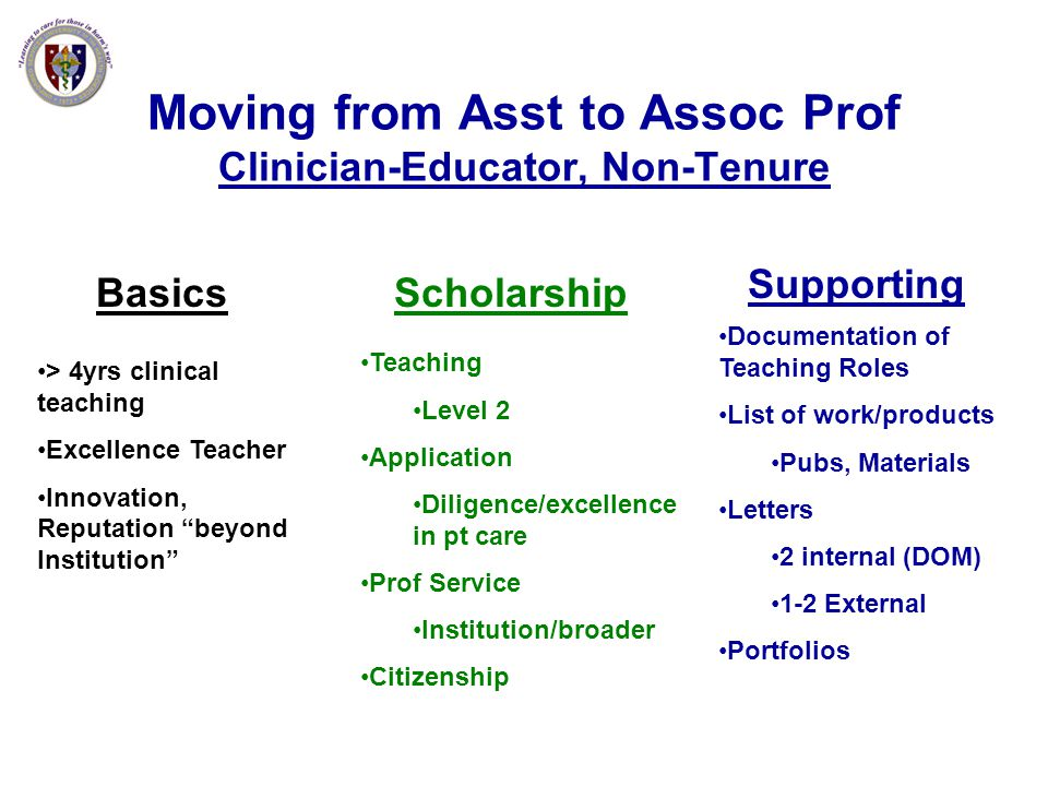 Moving from Asst to Assoc Prof Clinician-Educator, Non-Tenure