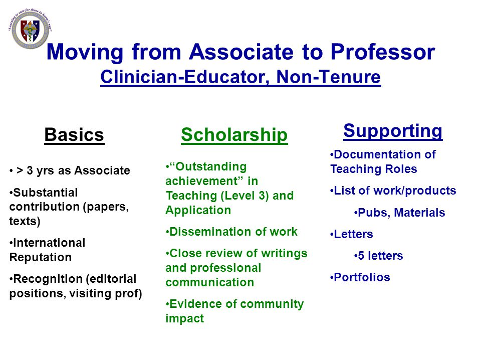 Moving from Associate to Professor Clinician-Educator, Non-Tenure