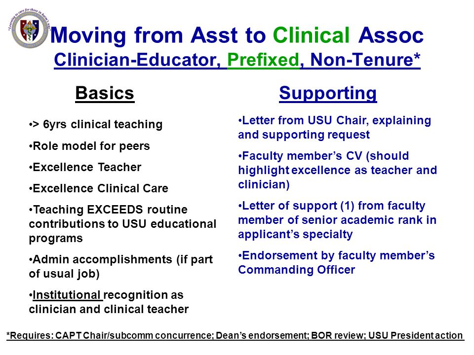 Moving from Asst to Clinical Assoc Clinician-Educator, Prefixed, Non-Tenure*