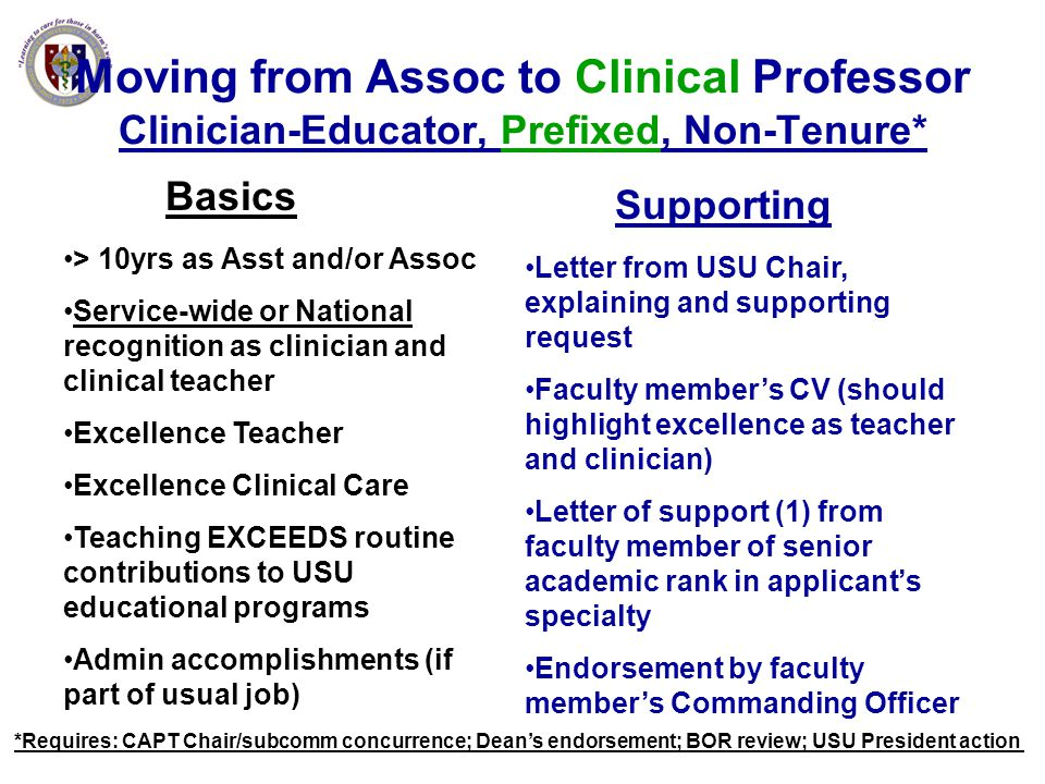Moving from Assoc to Clinical Professor Clinician-Educator, Prefixed, Non-Tenure*