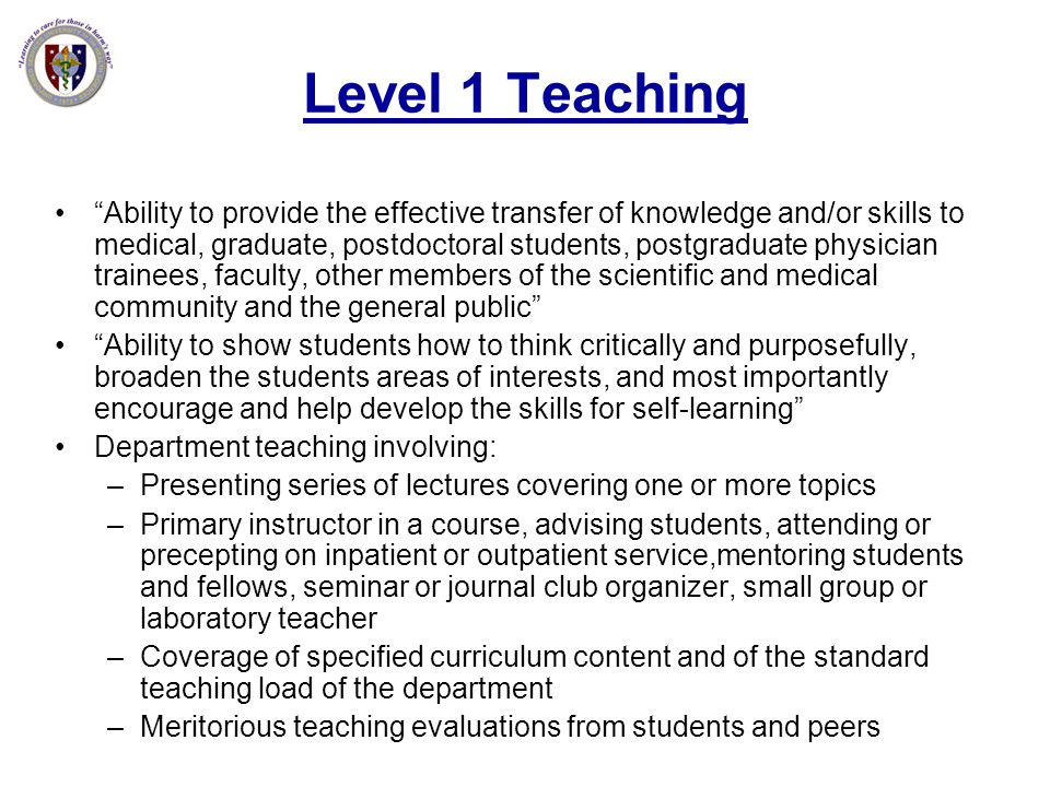 Level 1 Teaching