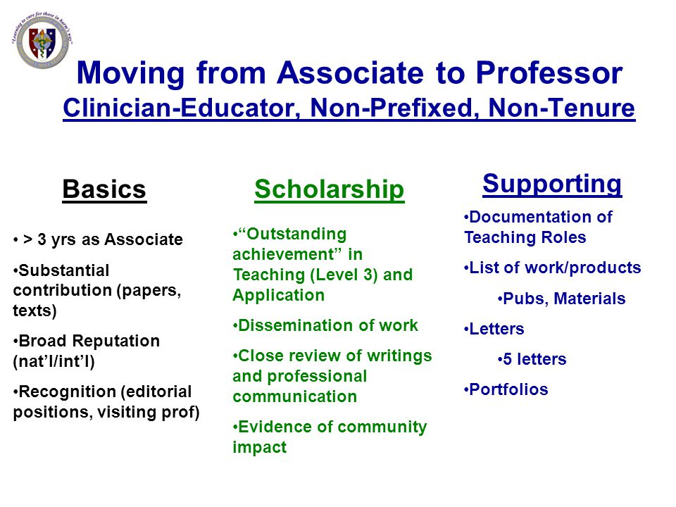 Moving from Associate to Professor Clinician-Educator, Non-Prefixed, Non-Tenure