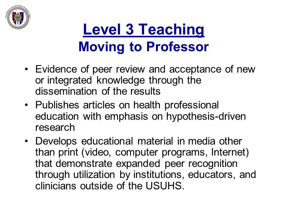 Level 3 Teaching Moving to Professor