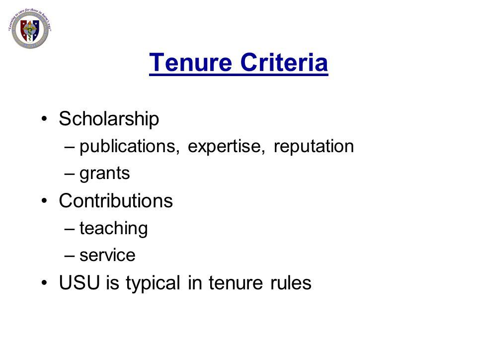 Tenure Criteria Scholarship Contributions