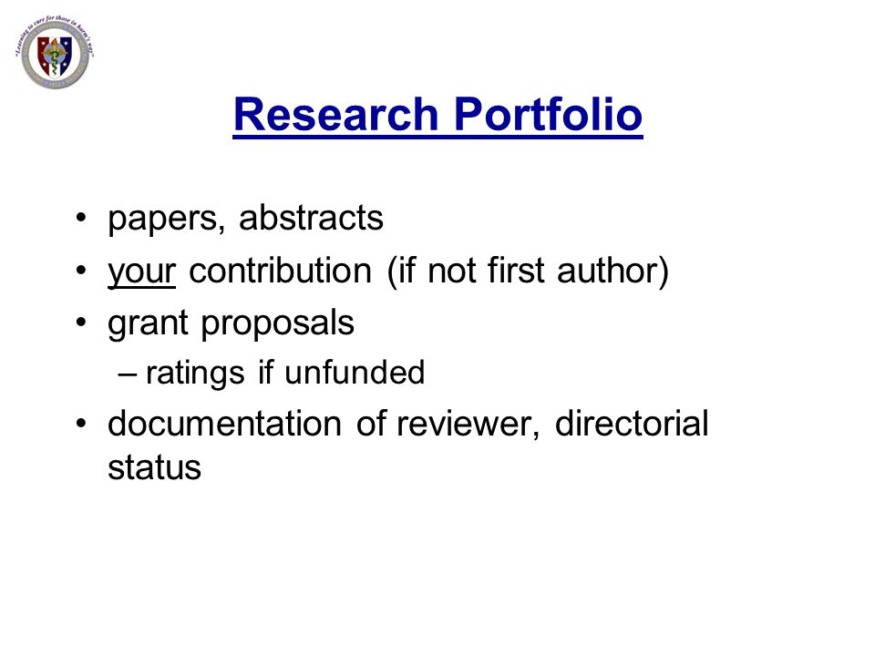 Research Portfolio papers, abstracts