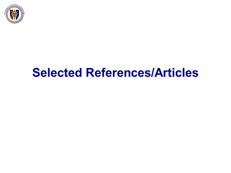 Selected References/Articles