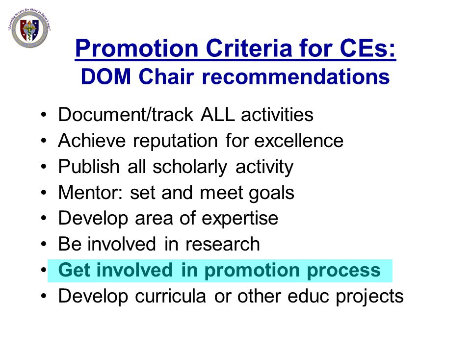 Promotion Criteria for CEs: DOM Chair recommendations