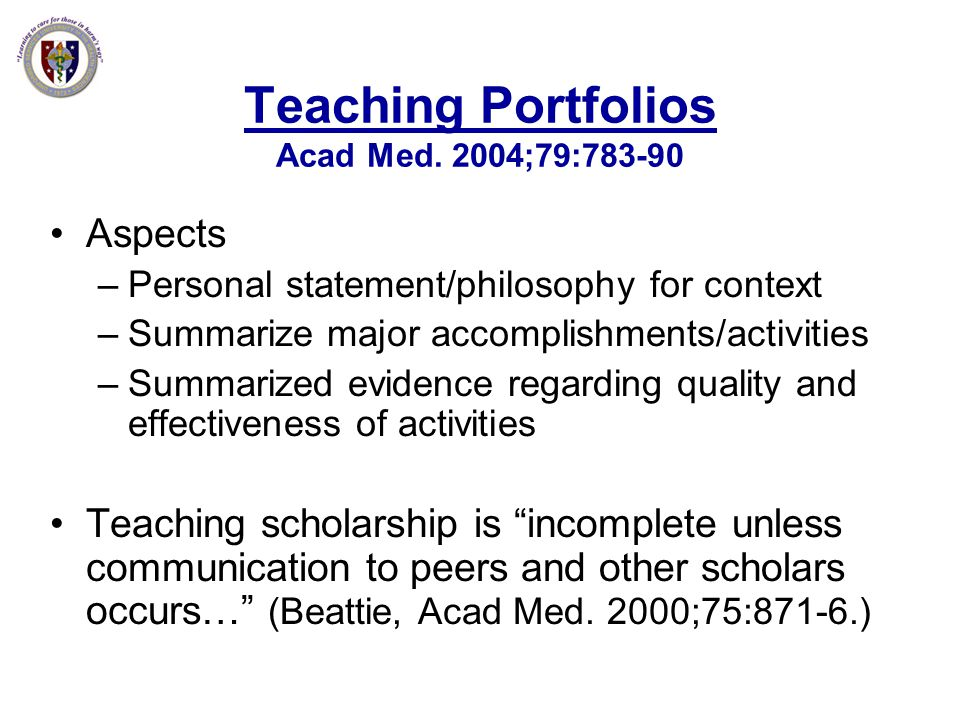 Teaching Portfolios Acad Med. 2004;79:783-90