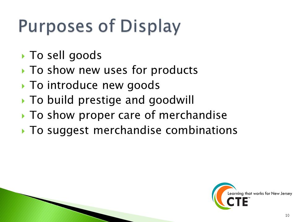 Purposes of Display To sell goods To show new uses for products