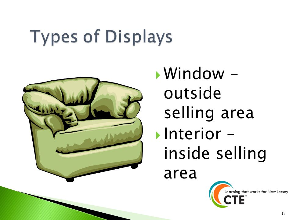 Types of Displays Window – outside selling area