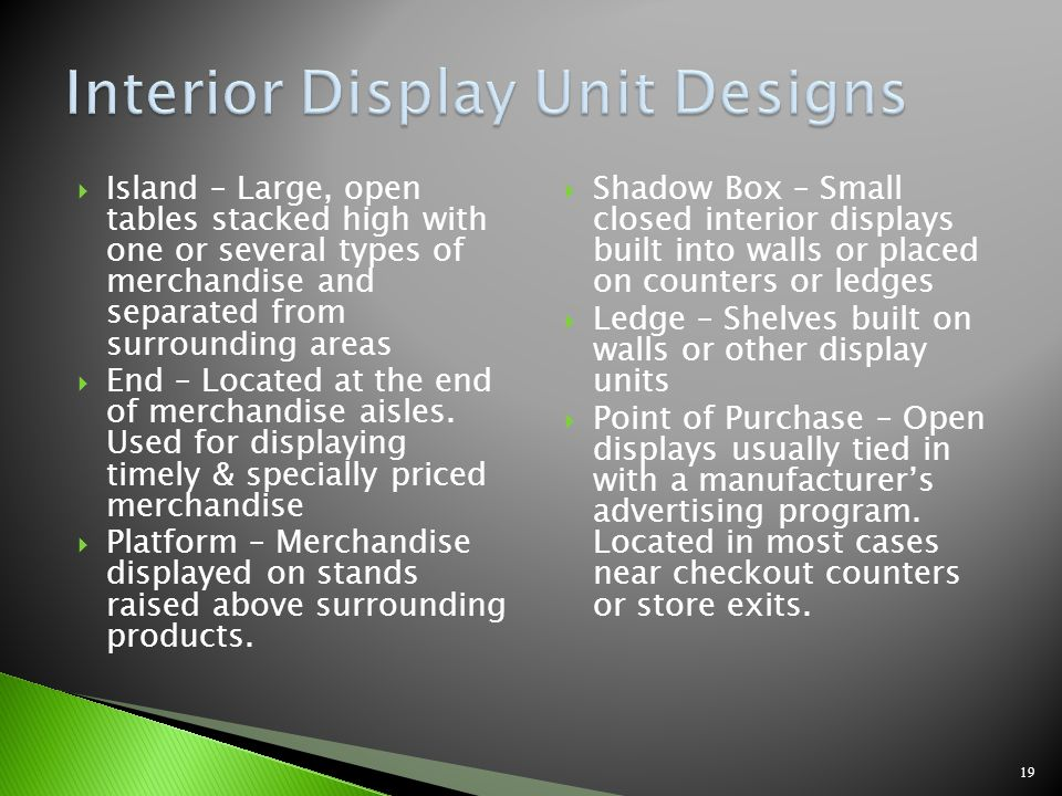 Interior Display Unit Designs